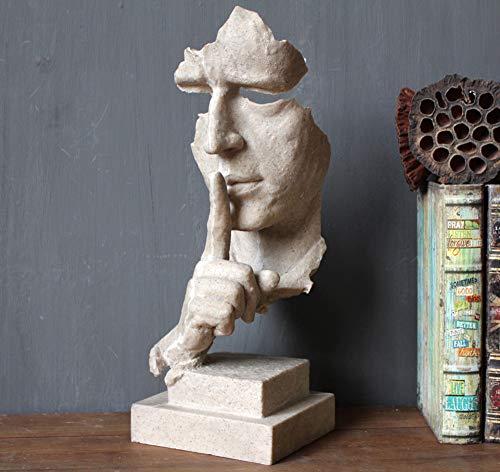 PP&DD Schweigen ist Gold Figur,Kreativ Abstrakte Handwerk Statuen,Skulpturen.Für Office Wohnzimmer Kunst-Geschenk Wohnaccessoires-B 34.5x12.8x3cm(14x5x1inch)