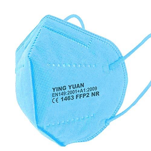 10 x FFP2 Schutz Maske Mundschutz Atemschutzmaske Zertifiziert CE1463 EN149:2001+A1:2009 - Atmungsaktives Falten mit Nasenklemme Skyblue