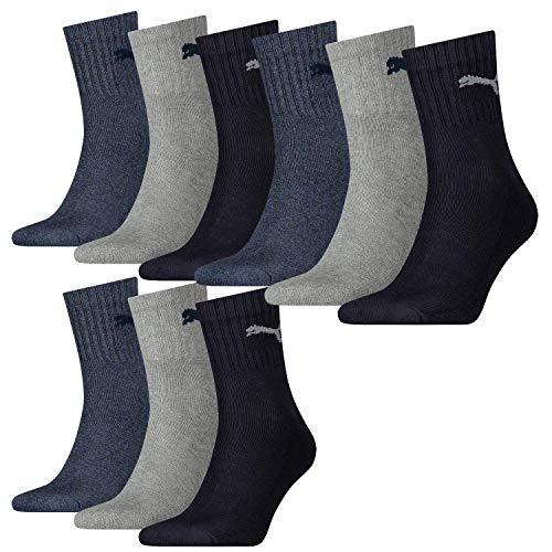 PUMA Unisex Quarter Socken Sportsocken navy / grey / nightshadow blue 532 - 35/38, 9er Pack