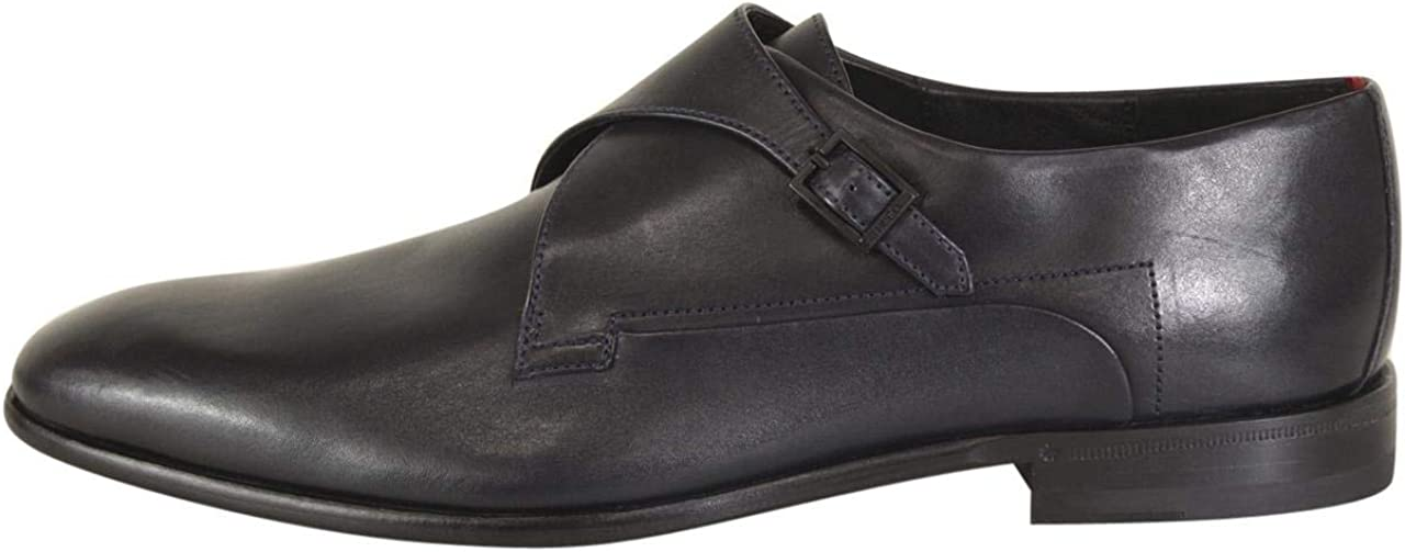 Hugo Boss Mens Appeal Dark Blue Leather Monk Strap Loafers Shoes Sz