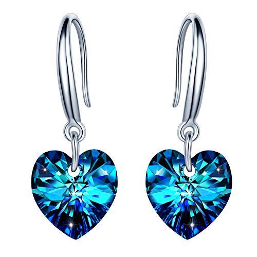 """Unendlich U Damen Fashion 925 Sterling Silber Ohrhänger""""Herz des Ozeans"""" Blau Kristall Herz Haken Ohrringe Earrings Creolen,Weihnachtsgeschenke"""