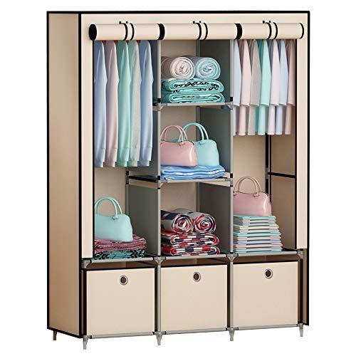 GHQME - Armario plegable de tela con 3 cajones, armario de tela con barra y...