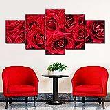 ARIE 5 Piezas Cuadro Rosas Rojas Románticas 5 Piezas Impresión En Lienzo Tablero del Moderno Cuadro De Pintura Póster De Arte Sala De Decoración Hogareña