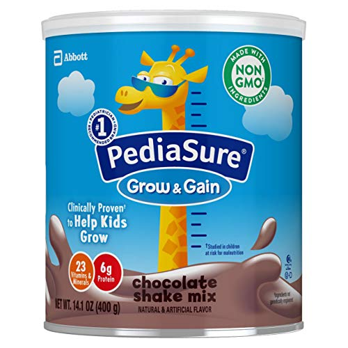 PediaSure Grow and Gain Non-GMO and Gluten-Free Shake Mix Powder, Nutritional Shake For Kids, With Protein, Probiotics, DHA, Antioxidants, and Vitamins & Minerals, Chocolate, 14.1 oz, 3 Count