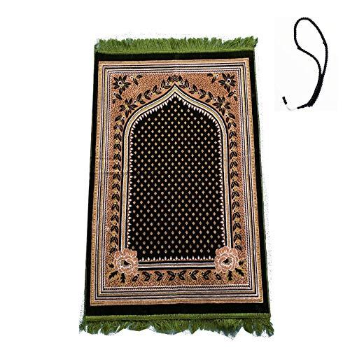 Gebetsmatte (+ Gebetsperlen Tasbih) Islamischer Namaz leichter weicher muslimischer Teppich türkischer Janamaz Namaz Sajadah, ideal für Reisen/Zuhause/Büro/Masjid/Hajjj/Umrah (Sternenhimmelgrün)