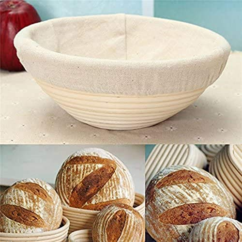Handmade Bread Basket 8.8-inch Natural Rattan Fermentation Basket. Linen dough lining. Round Bread Fermentation Basket