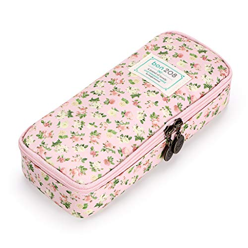 BTSKY Cute Pencil Case -- High Capacity Floral Pencil Pouch Stationery Organizer Multifunction Cosmetic Makeup Bag, Perfect Holder for Pencils and Pens (Pink)