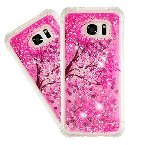IMEIKONST Glitter Liquid Case for Galaxy S6 Edge, Sparkle Sequin Floating Shiny Quicksand Transparent TPU Shockproof Protective Bumper Cover for Samsung Galaxy S6 Edge Bling Cherry Blossoms YB