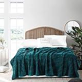 GONAAP Fleece Flannel Throw Blanket Super Soft Cozy Striped Lightweight All Seasons Decorative Two Sizes for Coach Bed Sofa (Dark Green 50'x60')