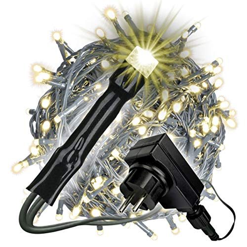 Nipach GmbH 400 LED Lichterkette warm weiß für Innen Aussen grünes Kabel Trafo Timer 50 Meter Weihnachtsbeleuchtung Weihnachtsdeko Partydeko Xmas-Deko