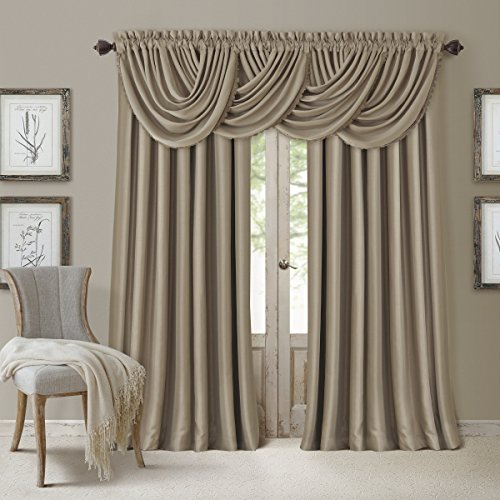 Elrene Home Fashions All Seasons Energy Efficient Room Darkening Rod Pocket Window Panel, 52' x 108' (1), Taupe