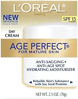 L'Oreal Paris, Age Perfect Day Cream for Mature Skin with Soy Seed Proteins, SPF 15, 2.5-Ounce (Pack of 2)