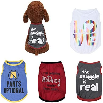 Wakeu Pet Supplies Set of 4 Puppy Clothes for Small Dogs Boy Summer Shirt for Chihuahua Yorkies product image