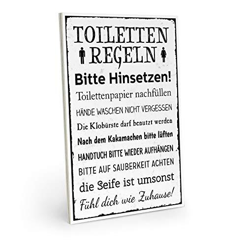 ARTFAVES Holzschild mit Spruch - TOILETTENREGELN - Vintage Shabby Deko-Wandbild/Türschild