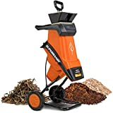 SuperHandy Wood Chipper Shredder Electric 1.5' (39mm) Max Wood Capacity 17:1 Reduction 15A 1800W 120VAC Dual Edge Blades for Fire Prevention & Firebreaks (Amazon Exclusive for USA)