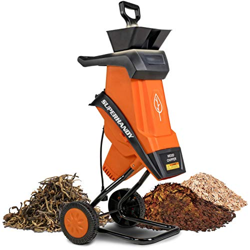 """SuperHandy Wood Chipper Shredder Electric 1.5"""" (39mm) Max Wood Capacity 17:1 Reduction 15A 1800W 120VAC Dual Edge Blades for Fire Prevention & Firebreaks (Amazon Exclusive for USA)"""