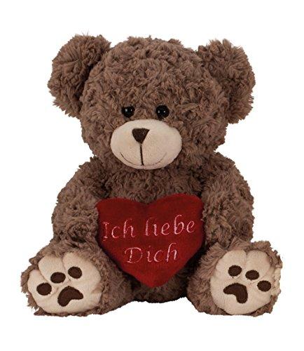Geschenkestadl Plüschtier Bär in Grau Braun ca. 25 cm mit rotem Herz Ich Liebe Dich Kuscheltier Stofftier Teddy