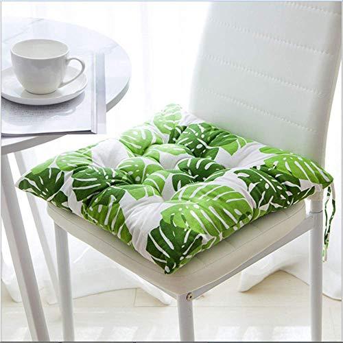 NoNo Tuin dik zitkussen eetkamer stoel kussen keuken kantoor zachte terras pad warme katoenen stoel stoel stoel kantoor bar sofa kussen 50x50cm Groene blad.