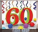 ABAKUHAUS Bunt Rustikaler Gardine, Party Konfetti wirbelt, Schlafzimmer Kräuselband Vorhang mit Schlaufen und Haken, 280 x 175 cm, Mehrfarbig