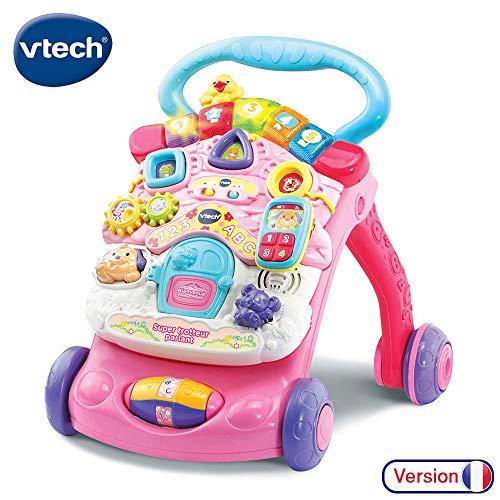 VTech - Super Trotteur Parlant 2 en 1 Rose – Trotteur interactif pour apprendre à marcher