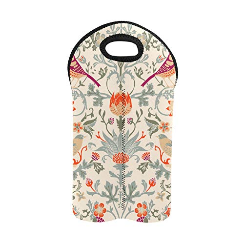 Wine Bags for Travel Floral Birds Painted Two Bottle Wine Tote Double Bottle Carrier Wine Bags for Travel Thick Neoprene Wine Bottle Holder Keeps Bottles Protected