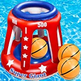 TURNMEON 4 In 1 Set Giant 36'' Inflatable Pool Basketball Hoop with 3 Balls 6 Score Hole Swimming Pool Party Game Toys Kids Adults Family Volleyball Beach Ball Toss Game Summer Outdoor Water Toy Sport