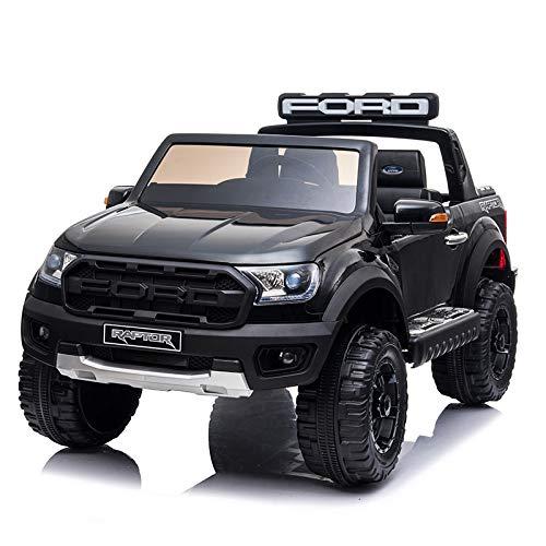 Mondial Toys Auto ELETTRICA per Bambini Ford Ranger Raptor 12V Pick UP 2 POSTI SEDILI in Pelle Telecomando Nera