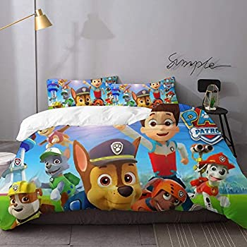 HeKua 1 Duvet Cover,2 Pillowcase-Nursery Paw Patrol 6 Fade Resistant Bedding Set for Kids Full Size 80x90 inches