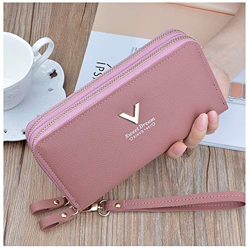 QQBB Damen Geldbörse, Doppel-Reißverschluss Hand Brieftasche 2019 Neue Damen Lange Mode große Kapazität Doppel-Geldbörse Mobile Wallet,A