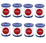 Haifei - Cartucho de filtro de piscina de tipo I para Bestway, sustitución de cartucho de filtro de spa de piscina de tipo I, cartucho de filtro de spa para la limpieza de piscina, 8 unidades