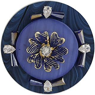 Anuradha Art Jewellery Blue Colour Round Shape Trendy Traditional Saree Pin For Stylish Women