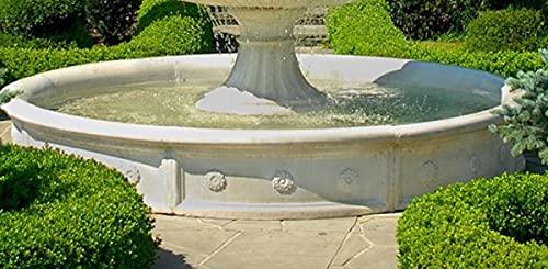 Casa Padrino Barock Springbrunnen Umrandung Weiß Ø 265 x H. 40 cm - Runde Gartenbrunnen Umrandung - Brunnen Umrandung - Prunkvolle Gartendeko im Barockstil