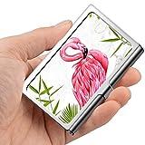Tarjeta de visita profesional, estuche de billetera de acero inoxidable Titular de la tarjeta de identificación de tarjeta de crédito Flamingo