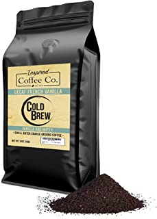 Decaf French Vanilla - Flavored Cold Brew Coffee - Inspired Coffee Co. - Swiss Water Process - Coarse Ground Coffee - 12 oz. Resealable Bag