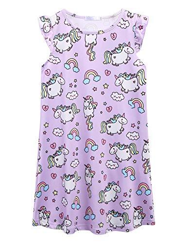 Bricnat Mädchen Nachthemden Einhorn Pferd Kurzarm Kleid Nachthemd Nachtwäsche Nachtkleid Kinder Nightdress Sleepwear Sommer 120