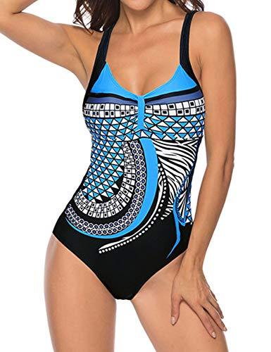 Monokini Costumi Interi Donna, Swimming Pin Up Costume SGAMBATO Contenitivi One Piece Costumi da Bagno Push Up Trikini Imbottito Bohemian Piscina (Blu, M)
