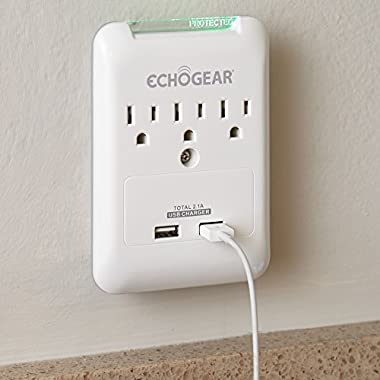 ECHOGEAR Low Profile Surge Protector Design With 3 AC Outlets & 2 USB Ports – 540 Joules of Surge Protection - Installs Over Existing Outlets To Protect Your Gear & Increase Outlet Capacity