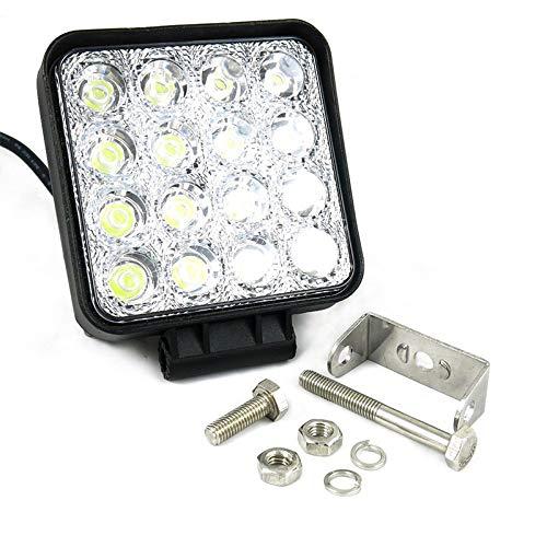 Konesky Led-lichtbalk, 48 W, 6500 K, vierkant, voor auto, waterdicht, 12 V, 24 V, vrachtwagen, tractor, SUV