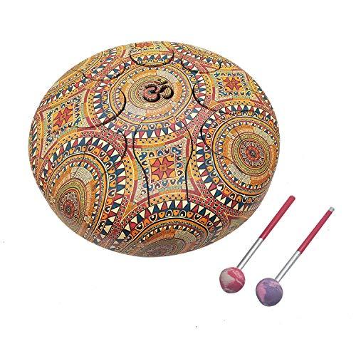 India Meets India OM Tongue Drum Tank Drum Stahl Percussion Hangpan Drum Hand Drum Musikinstrument mit Tasche und Schlägel Stick 9 Inch cremefarben