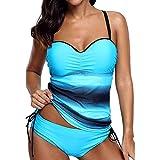 Juleya Tankini Damen Push Up Bikinis Große Größen Badamode Badeanzüge Oversize Swimwear Bathing Suit Blau XL