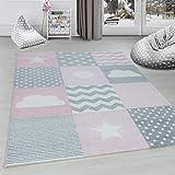 Ayyildiz Teppich Alfombra para habitación infantil, diseño de cuadros, nubes, estrellas, corazones, gris, rosa y blanco, 120 cm, redonda