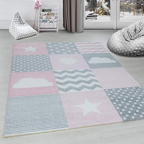 Ayyildiz Teppich Kinderteppich Kinderzimmer kariert Wolken Sterne Herz Grau Pink Weiß - 80x150 cm