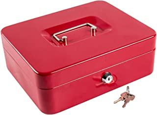Kyodoled Large Metal Cash Box with Money Tray and Lock,Money Box with Cash Tray,Cash Drawer,9.84