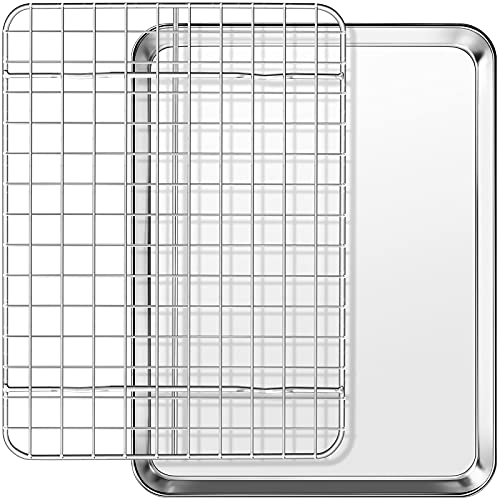 Baking Sheet with Cooling Rack Set, Footek Stainless Steel Cookie Sheet Baking Pan Tray with Wire Rack for Oven, Dishwasher Safe, Non Toxic, Heavy Duty & Easy Clean (2, 9inch)