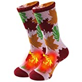 Men Winter Work Socks For Outdoor, Sunew Women Thermal Socks for Extreme Cold Weather Thick Crew Boot Extra Warm Fluffy Heated Socks for Men Thick Thermal Socks 1 Pair Medium Maple Leaf Red