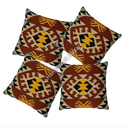 Handicraft Bazarr 4 Pcs Set Hippie Throw Jute Cushion Cover Floor Bed Jute Pillow Case Home Decorative Pillow Cover Moroccan Pillow Hand Woven Bed Pillow Vintage Kilim Cushion Cover