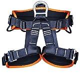 Harnais de sécurité, baudrier escalade, Harnais d'escalade, Ceinture de sécurité corporelle de la hanche de la taille pour l'alpinisme sauvetage rock grimpant orange