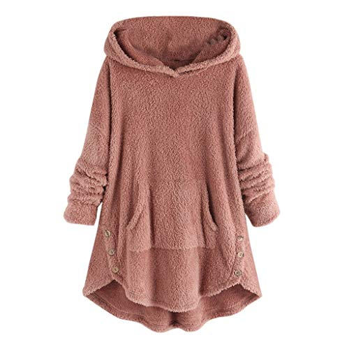KPPONG Pullover Damen Teddy-Fleece Winter Kapuzenpullover Knopfdesign Sweatshirt Hooded Plüsch Pulli Unregelmäßiger Saum