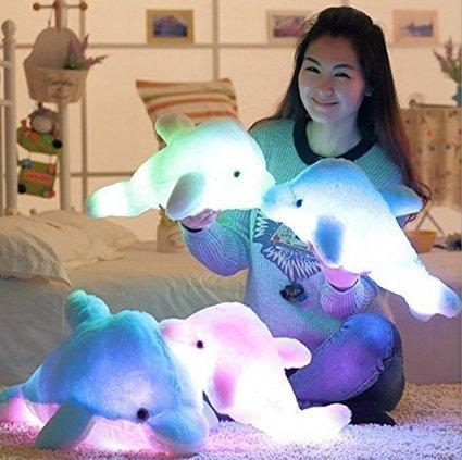 Kenmont Kreative Nacht Bunte LED-Licht Weich Spielzeug leuchtende Stuffed Delphin Plüschtiere Relax Kissen Puppen Geschenke (45cm, Blau)