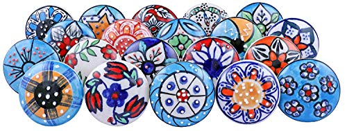 Pomos de cerámica con diseño de flores de aspecto vintage para armarios, armarios y cajones, 10 unidades